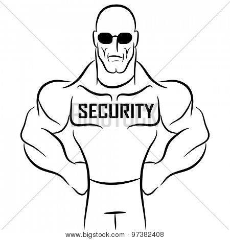 An image of a security guard or bouncer cartoon.