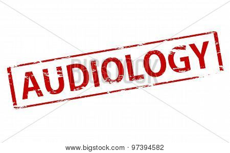 Rubber stamp with word audiology inside vector illustration