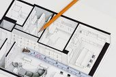 Metal measuring tape and sharp pencil on authentic artistic inspiring floor plan home fragment symbolizing handmade trends in contractor investment home building business and funding poster
