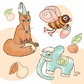 fox elephant bee pear and apple vector illustration poster