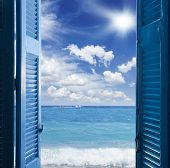 room with open blue door  to seascape - vacation  concept poster