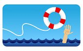 A vector illustration of a hand reaching out to grab a life preserver poster
