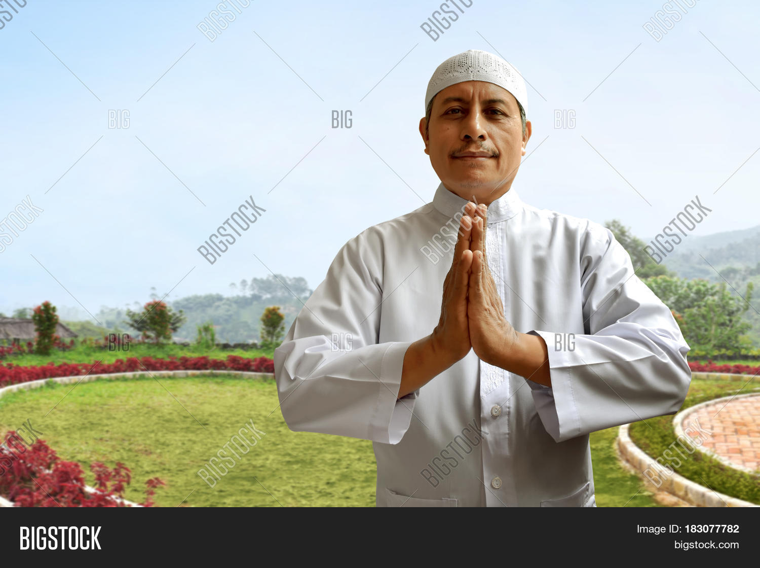 Old Muslim Man Smiling Image Photo Free Trial Bigstock