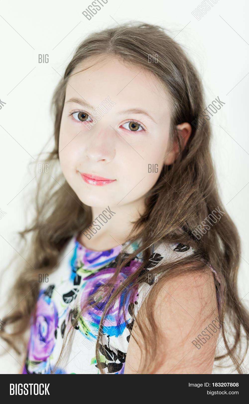 Cute teen girl portrait congratulate, seems