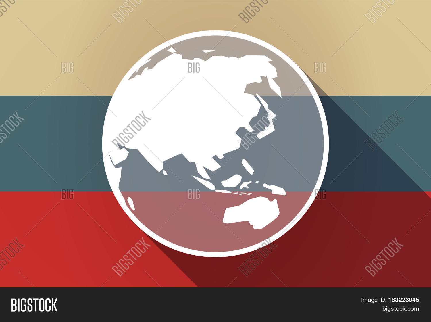 Ong shadow russia flag asia vector photo bigstock ong shadow russia flag with an asia pacific world globe map gumiabroncs Images