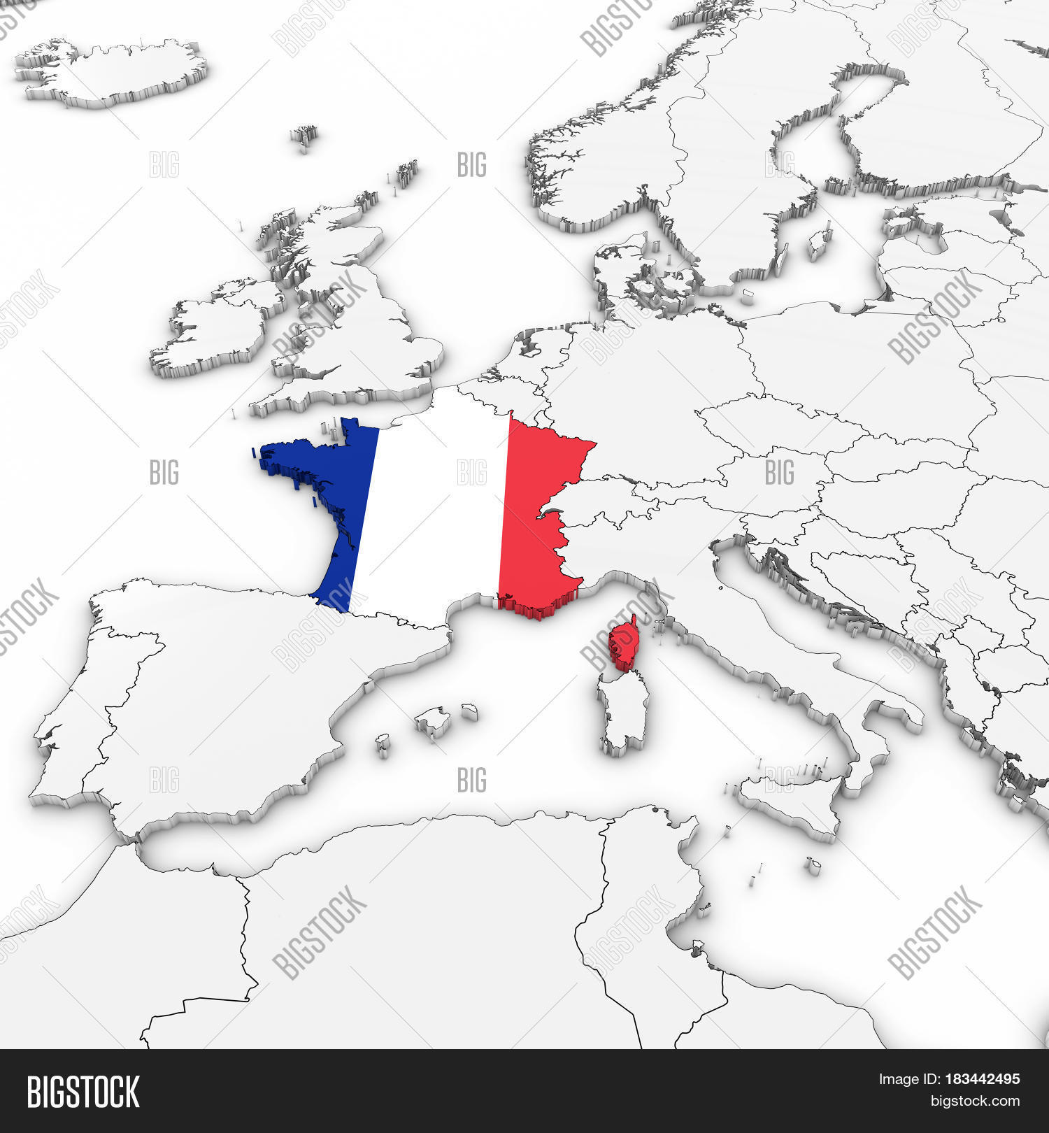 D Map France French Image Photo Free Trial Bigstock - Map of france in french