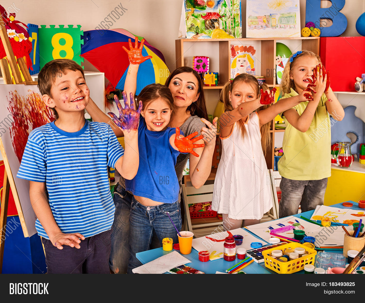 Small students teacher image photo free trial bigstock for Kids painting class