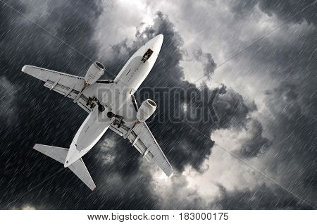 Airplane Approach At The Airport Landing In Bad Weather Storm Hurricane Rain