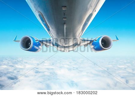 Airplane Is An Excellent View Of The Flight Level View Of Bottom View Wings And Engines