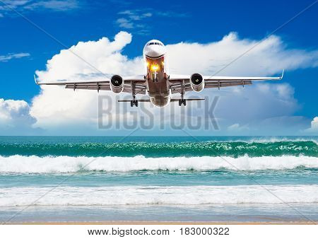 Airplane Flying Over Amazing Ocean Landscape With Tropical Island, Travel Destinations