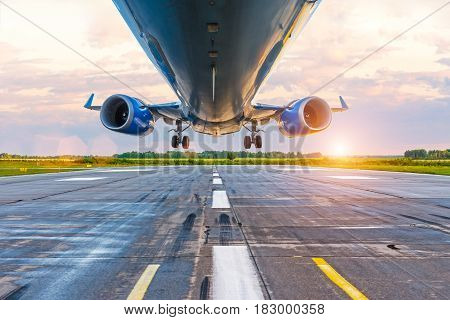 Airplane Before Landing, Bottom View Of Engines And Wings, Wpp With Lanshtafom Before Sunset