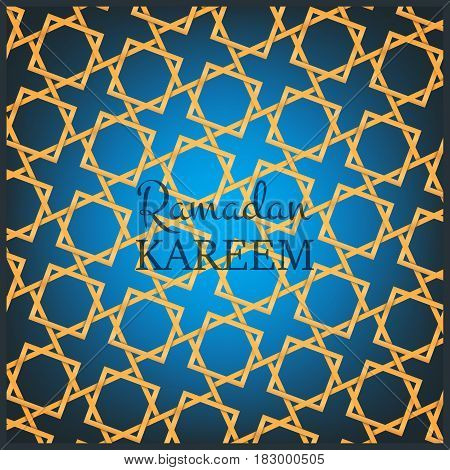 Ramadan Kareem card design template. Arabian background with mysterious light, gold pattern and typography