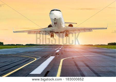Aircraft take off the evening sky sunset sunrise sun airport.