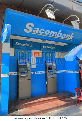 HO CHI MINH CITY VIETNAM - NOVEMBER 26, 2016: Sacombank ATM. Sacombank Saigon Commercial Bank is a Vietnamese bank founded in 1991.