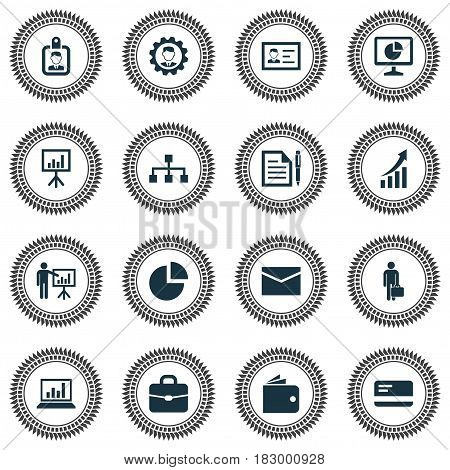 Trade Icons Set. Collection Of Envelope, Work Man, Hierarchy And Other Elements. Also Includes Symbols Such As Manager, Hierarchy, Circle.