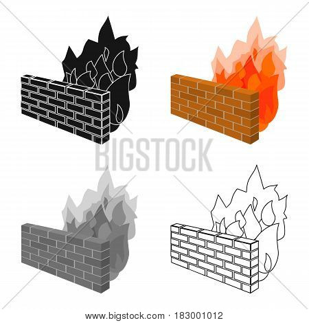 Firewall icon in cartoon design isolated on white background. Hackers and hacking symbol stock vector illustration.