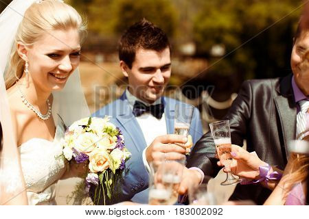Cheers With The Newlyweds After Wedding Ceremony