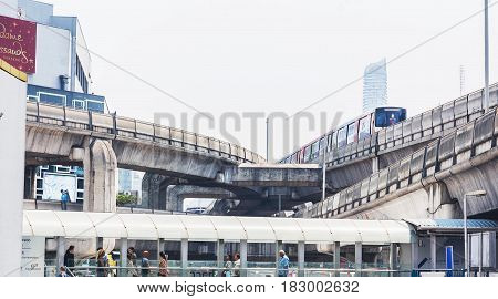 Skywalk At The Center Connected To Electric Train Station And Railway In Bangkok City