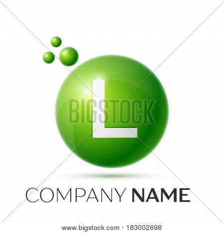 L Letter splash logo. Green dots and circle bubble letter design on grey background. Vector Illustration