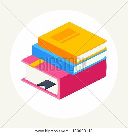 colorful stack of three books, isometric.vector illustration isolated on white background. icon abstract book in flat style.
