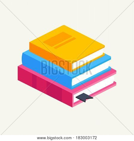 horizontal stack of colored books in isometric.education infographic template design with books pile.Set of book icons in flat design style.vector illustration of isolated layers in the background
