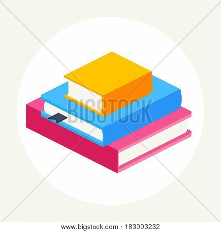 abstract a stack of multicolored books of different sizes. set of close books in isometric view.book icon vector illustration in flat design style of isolated layers on a white background