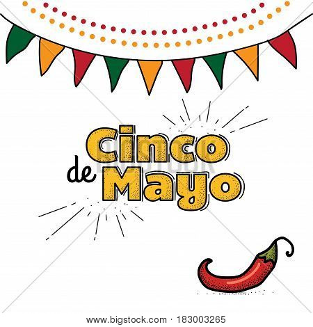 Cinco De Mayo logo. Hand drawn lettering and chili pepper. Vector illustration for advertising, poster, announcement, invitation, party, greeting card, fiesta, bar, restaurant, menu.