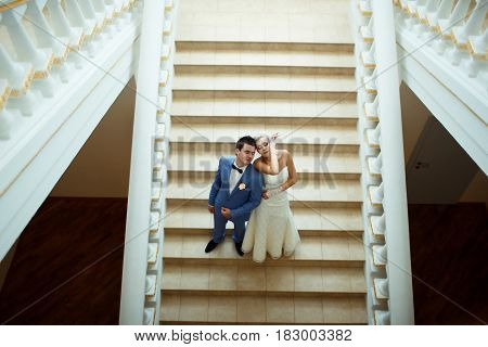 Beautiful Stairs And A Couple In The Wedding Day