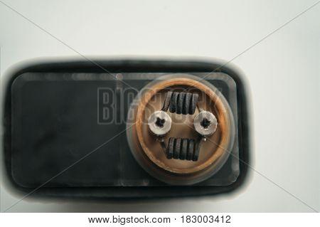 Vape Coils Of E-cig. Electronic Cigarette Parts. Vaping.