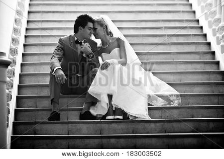 Black And White Photo Of The Couple On The Wedding
