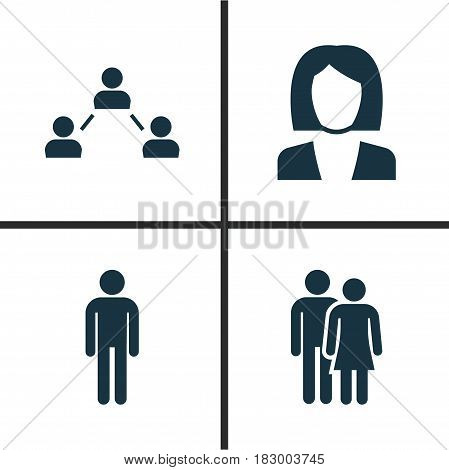 People Icons Set. Collection Of Beloveds, Businesswoman, Gentleman And Other Elements. Also Includes Symbols Such As Network, Mister, Social.
