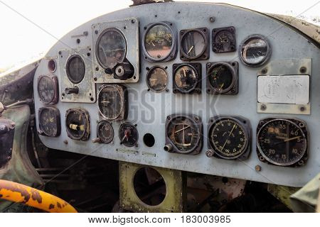 Stock Photo - Plane cockpit, old aircraft interior
