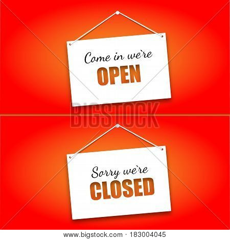 Set of signs on the doors Opened and Closed on a bright red background. Hanging signs, paper card.