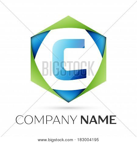 Letter C vector logo symbol in the colorful hexagonal on grey background. Vector template for your design