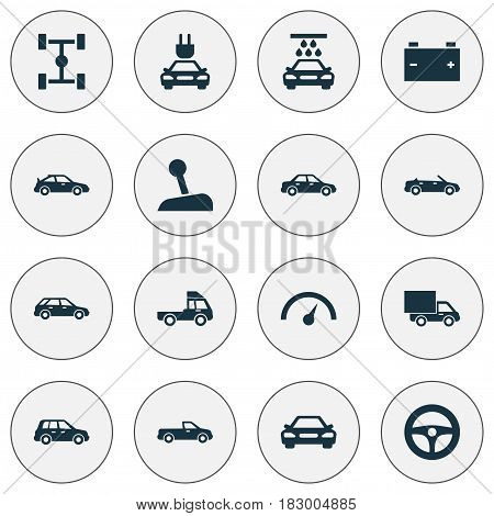 Car Icons Set. Collection Of Lorry, Chronometer, Carriage And Other Elements. Also Includes Symbols Such As Wheel, Wash, Van.