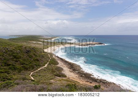 View from Pointe des Chateaux, the most Eastern point of French island of Guadeloupe In the Caribbean