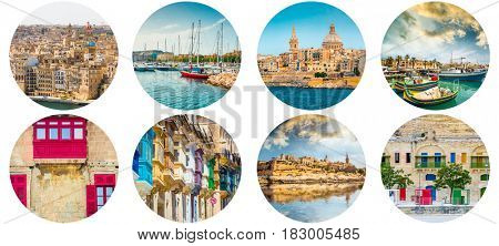Ancient beautiful European cities, next to the shore, old detailed domes, religious buildings, collage
