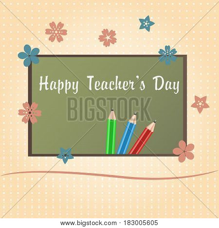 Happy Teachers Day greeting card. Teachers Day letters on school desk. Vector illustration