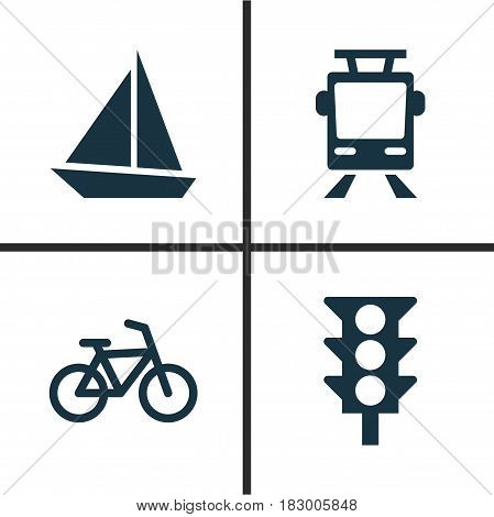 Shipment Icons Set. Collection Of Yacht, Bicycle, Streetcar And Other Elements. Also Includes Symbols Such As Light, Streetcar, Sail.