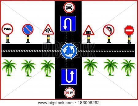 road sign illustration. road show, road construction