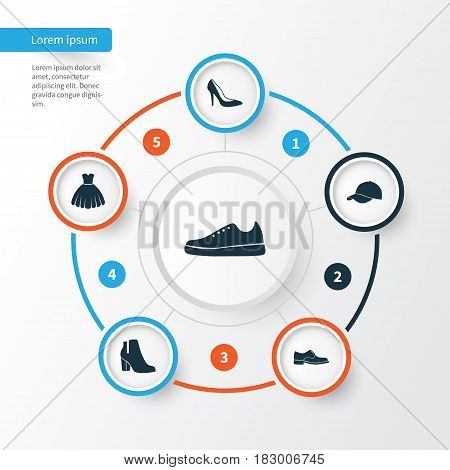 Clothes Icons Set. Collection Of Sarafan, Trilby, Sneakers And Other Elements. Also Includes Symbols Such As Female, Shoes, Footwear.