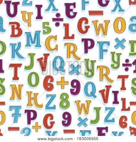 Vector seamless alphabet and numbes background pattern in bright colors. Suitable for posters and prints, wallpaper, textiles, scrap-booking, gift wrap and packaging