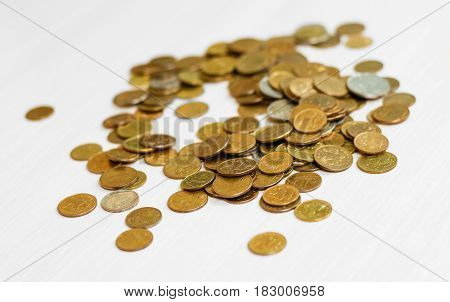 Coins Scattered On The Table. Coins Of Russia. Closeup