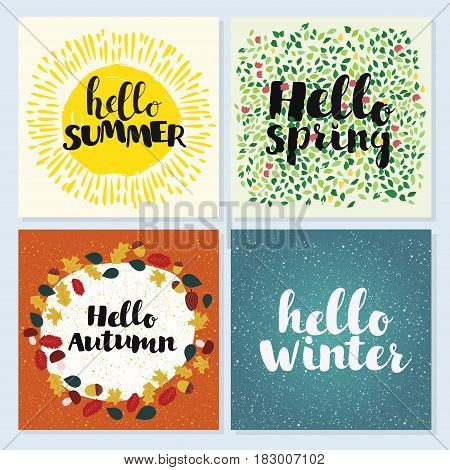 Four Seasons Typographic Banner. Hello spring, winter, spring, summer