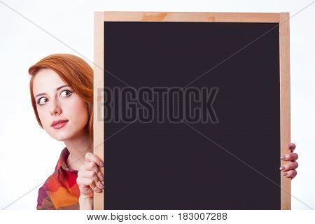 Portrait Of Beautiful Young Woman With Empty Board On The Wonderful White Studio Background