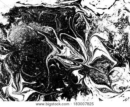 Black And White Liquid Texture, Watercolor Hand Drawn Marbling Illustration, Abstract Vector Backgro