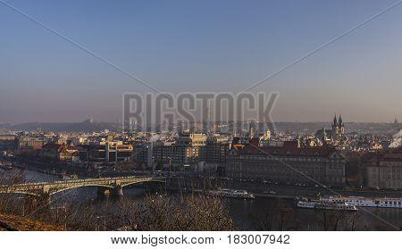 Prague Town And River Vitava In Golden Evening Haze Praha Travel