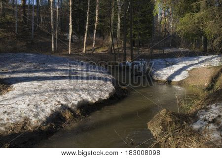 Creek flows between hills and snow in the spring.