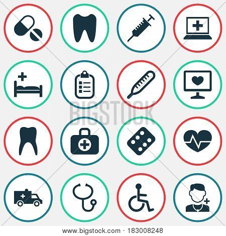 Medicine Icons Set. Collection Of Review, Diagnosis, Pills And Other Elements. Also Includes Symbols Such As Diagnosis, Stings, Clinic.