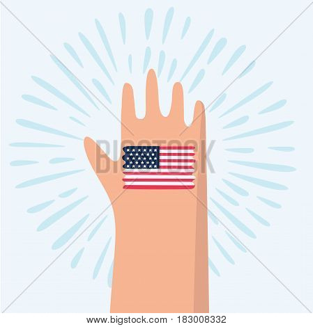 Vector cartoon illustration of american flag painted in colors on hand